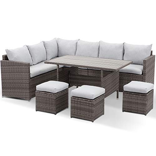 Wisteria Lane Patio Furniture Set 7, Outdoor Sectional Couch With Dining Table